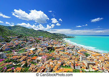 Aerial panoramic view of town Cefalu