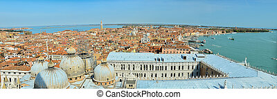 Aerial panoramic view of venice city