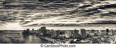 Aerial panoramic view of West Palm Beach, Florida. Sunset skyline