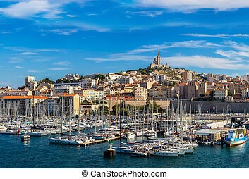 Marseille, France - Aerial panoramic view on basilica of ...