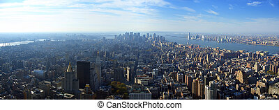 Aerial panoramic view over lower Manhattan, New York