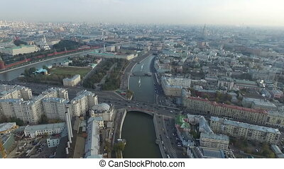 Aerial panoramic views over the historical center of Moscow...