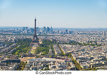 Paris skyline with Eiffel Tower, Les Invalides and business district of Defense, as seen from Montparnasse Tower, Paris, France