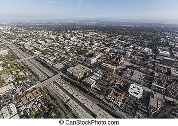 Aerial Pasadena 210 Freeway in California