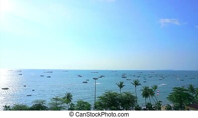 Aerial Pattaya front beach, Thailand