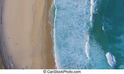 Aerial perspective of Bondi beach shoreline - A static wide...