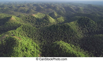 Aerial Philippines green mountains panoramic view. Asian jungle hilly island with high trees, plants, grass. Majestic Filipino nobody landscape of wild nature. Environtment Asia national park