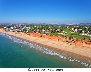 Aerial. Photo from the sky, golf courses Vale de Lobo. ...