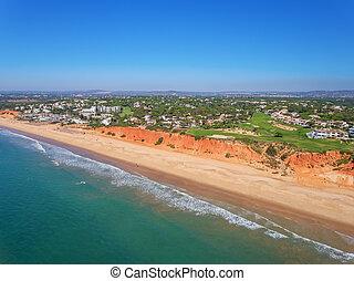 Aerial. Photo from the sky, golf courses Vale de Lobo. Portugal