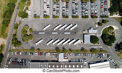 Aerial photo of a bus station in La Rochelle