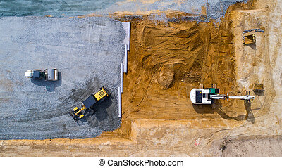 Aerial photo of a construction site in Treillieres