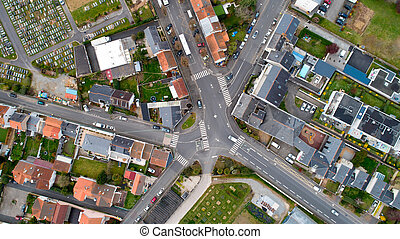 Aerial photo of a crossroad in Nantes city, France