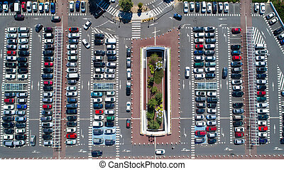 Aerial photo of a parking area