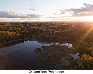 Aerial Photo of a Sunset over Forest in Autumn Day