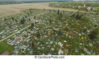 Aerial photo of cemetery graveyard showing the headstones...
