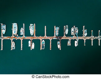 Aerial photo of docked boats