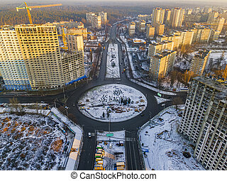Aerial photo of Kyiv city districts in winter.