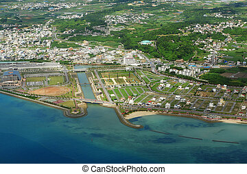 aerial photo of okinawa japan