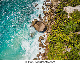 Aerial photo of Seychelles beach at La Digue