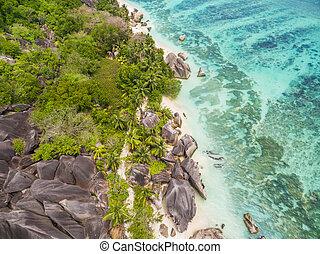 Aerial photo of Seychelles beach at La Digue - Aerial photo...