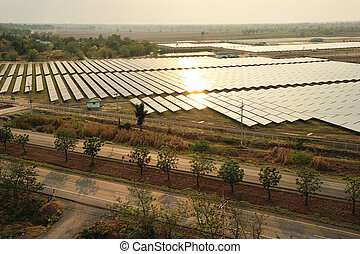 Aerial photo of solar power plant. - Aerial photo of solar...