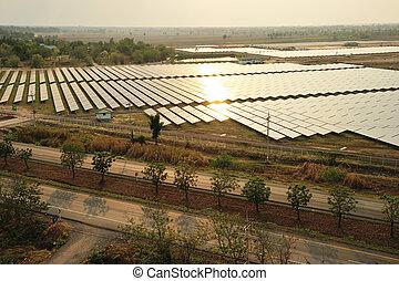 Aerial photo of solar power plant. - Aerial photo of solar...