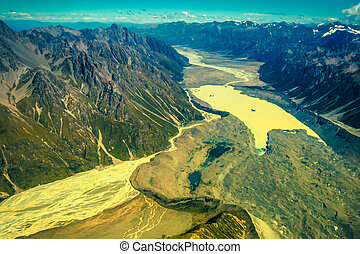 Aerial photo of Southern Alps in New Zealand.