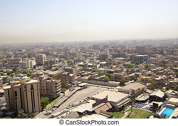 Aerial photo of the city of Baghdad, and shows where residential complexes. The city of Baghdad, capital of Iraq.