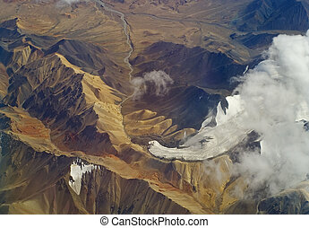 Aerial photo of the landscape in Tibet - Aerial photo of the...