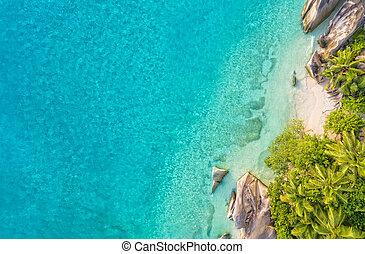 Aerial photo of tropical Seychelles beach at La Digue island...