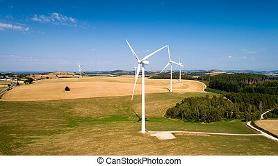 Aerial photo of wind turbines in the fields, Aveyron