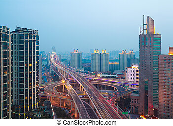 Aerial photography at city elevated bridge of night