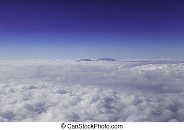 Aerial photography blue skyline with clouds