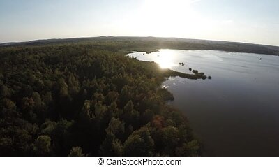 Aerial photography in the reserve in Belarus. Flying over...