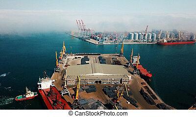 aerial photography of a cargo terminal