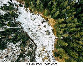 Aerial Photography of a Forest in Winter