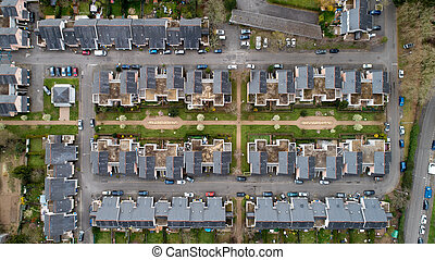 Aerial photography of houses in Nantes city, France