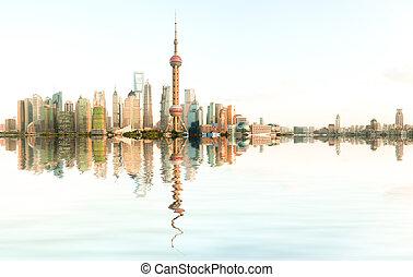Aerial photography Shanghai bund at skyline - Aerial...