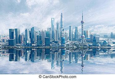 Aerial photography Shanghai skyline at Lujiazui