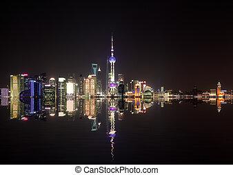 Aerial photography Shanghai skyline at night - Aerial ...