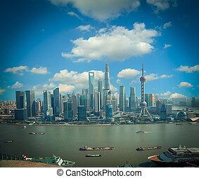 Aerial photography Shanghai skyline