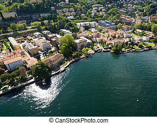 aerial photography view of Como city and lake near Milan in Italy