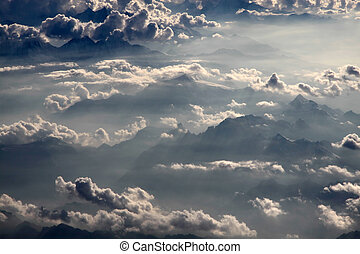 aerial photography with clouds - aerial photography over the...