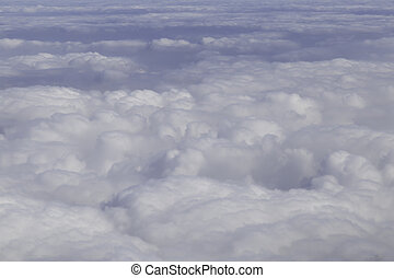 Aerial photography with white fluffy clouds