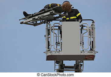 aerial platform during the rescue operation with fireman