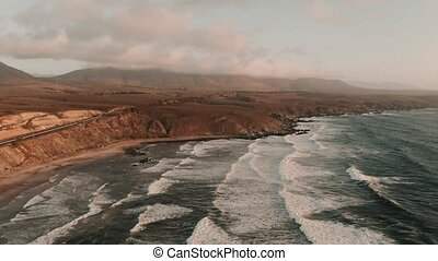 Aerial, Playa Chigualoco At Sunset, Chile - cine version -...