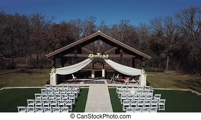 aerial , playground with a wooden canopy for a wedding ceremony