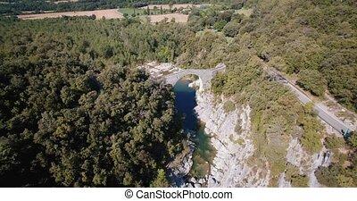 Aerial, Pont Medieval De Lllierca, Pyrenees, Spain - graded...