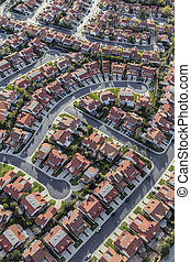 Aerial Porter Ranch California Homes