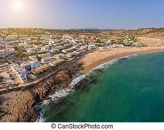 Aerial. Portuguese village in the south Luz, Lagos region. Algarve, Portugal